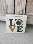 Rustic LOVE Sports Football Hand Painted Wood Pallet Lathe Box Sign Customize with your team colors