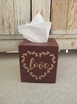 Primitive Hand Painted Valentine's Day LOVE Heart Wreath Tissue Box Cover