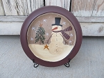 Primitive Lumpy Snowman with Feather Tree Plate