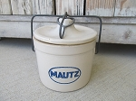 Antique Stoneware Mautz Brand Marked Ball Lock Cheese Crock