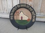 Primitive May The Bounty of the Season Autumn Fall Saltbox Hand painted Plate
