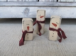 Primitive Winter Mini Snowmen Set of 3 Blocks with Scarf Color Options
