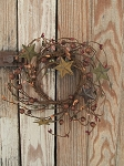 Primitive Mixed Berry with Barn Stars Pip Berry Wreath 4 1/2 Inch