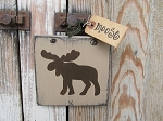 Primitive Rustic Northwoods Lodge Moose Hand Painted Sign Plaque