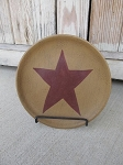 Primitive Hearthside Mustard Plate with Burgundy Primitive Star