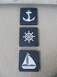 Nautical Rustic Lake Hand Painted Anchor Ship Wheel Sailboat Plaques