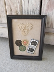 Primitive Antique Lace Doily Thread Spool Labels and Vintage Sewing Needles in Black Frame