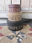 Primitive Needles Threads Samplers  Quilting Sewing Notions Stacking Boxes