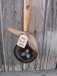 Primitive Antique Strainer Home Tweet Home with Nest and Eggs