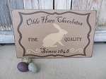 Primitive Colonial Olde Hare Chocolates Since 1848 Hand Painted Wooden Bunny Sign