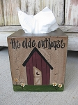 Primitive Country Outhouse Hand Painted Tissue Cover
