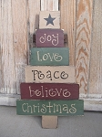 Primitive Hand Painted Christmas Tree Pallet Sign