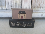 Primitive Saltbox Personalized  Set of 2 Hand Painted Stacker Blocks