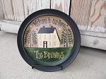 Primitive Saltbox House and Stars with American Flag Front Door Hand Painted Personalized Decorative Plate.