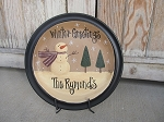 Primitive Personalized Hand Painted Snowman Plate