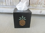 Primitive Pineapple and Star Four Sided Hand Painted Tissue Box Cover