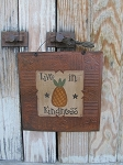 Primitive Pineapple and Stars Hand Painted Rusty Tin Tile Painting