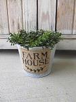Farmhouse Tin and Burlap Planter Bucket with Choice of Designs