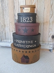 Primitive Gatherings Set of 5 Large Oval Stacking Boxes