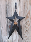 Primitive Black Star Shaped Tin Hanging Candle Holder with Dripped Tealight Candle