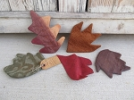 Primitive Autumn Fall Puffy Leaves Bowl Fillers Set of 5