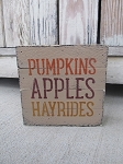 Primitive Fall Pumpkins Apples Hayrides Hand Painted Wood Pallet Lathe Box Sign