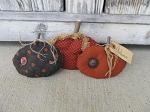 Primitive Autumn Fall Pumpkin Hand Made Set of 3 Bowl Fillers
