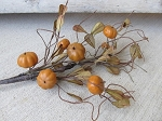 Primitive Country Rustic Fall Mini Pumpkins and Vines Floral Pick
