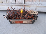 Primitive Fall Autumn Pumpkins Antique Large Loaf Pan Timer Light