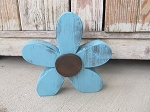 Rustic Wood Pure Turquoise Daisy