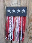Primitive Americana Rag Flag with Rustic Ribbons Wall Door Hanging