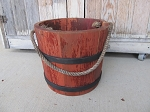 Primitive Antique Original Red Painted Staved Wooden Bucket with Rope Handle