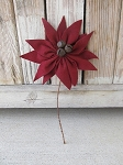 Primitive Felt Dark Red Poinsettia Ornament or Pick
