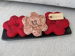 Country Primitive Red Poppy Flower Bowl Fillers Set of 3