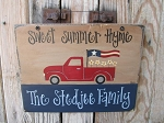 Primitive Hand Painted Red Truck Americana Flag and Daisies Personalized Sign