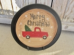 Primitive Red Truck Country Christmas Tree Hand Painted Plate