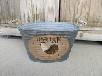 Primitive Country Rooster Hand Painted Galvanized Oval Tub with Saying Choices
