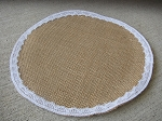 Primitive Shabby Chic Burlap and Lace Round Candle Mat