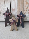 Primitive Americana Patriotic Chunky Wooden Stars Set of 3