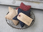 Primitive Americana Patriotic Red White and Blue Star Bowl Fillers Set of 3