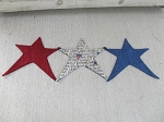 Primitive Country Americana Three Star Table Runner Hand Made