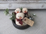 Primitive Winter Snowmen Set of 3 Bowl Fillers with Pine Tree Option