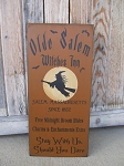 Primitive Halloween Olde Salem Witches Inn Salem Massachusetts Hand Painted Sign with Color Options