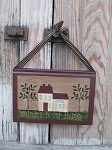 Primitive Saltbox and Willow Tree Framed Hand Painted Hanging Book