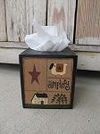 Primitive Saltbox Sampler Hand Painted Tissue Box Cover