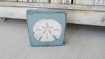 Nautical Beach Coastal Sand Dollar Wooden Sign Block