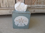 Nautical Beach Coastal Sand Dollar Hand Painted Tissue Box Cover