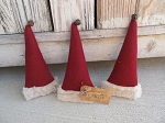 Primitive Christmas Santa Hats with Rusty Bells Hand Made Set of 3 Bowl Fillers