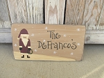 Primitive Christmas Personalized Santa and Wreath Wooden Sign