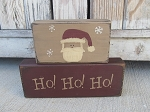 Primitive Hand Painted Santa Stacker Blocks Set of 2